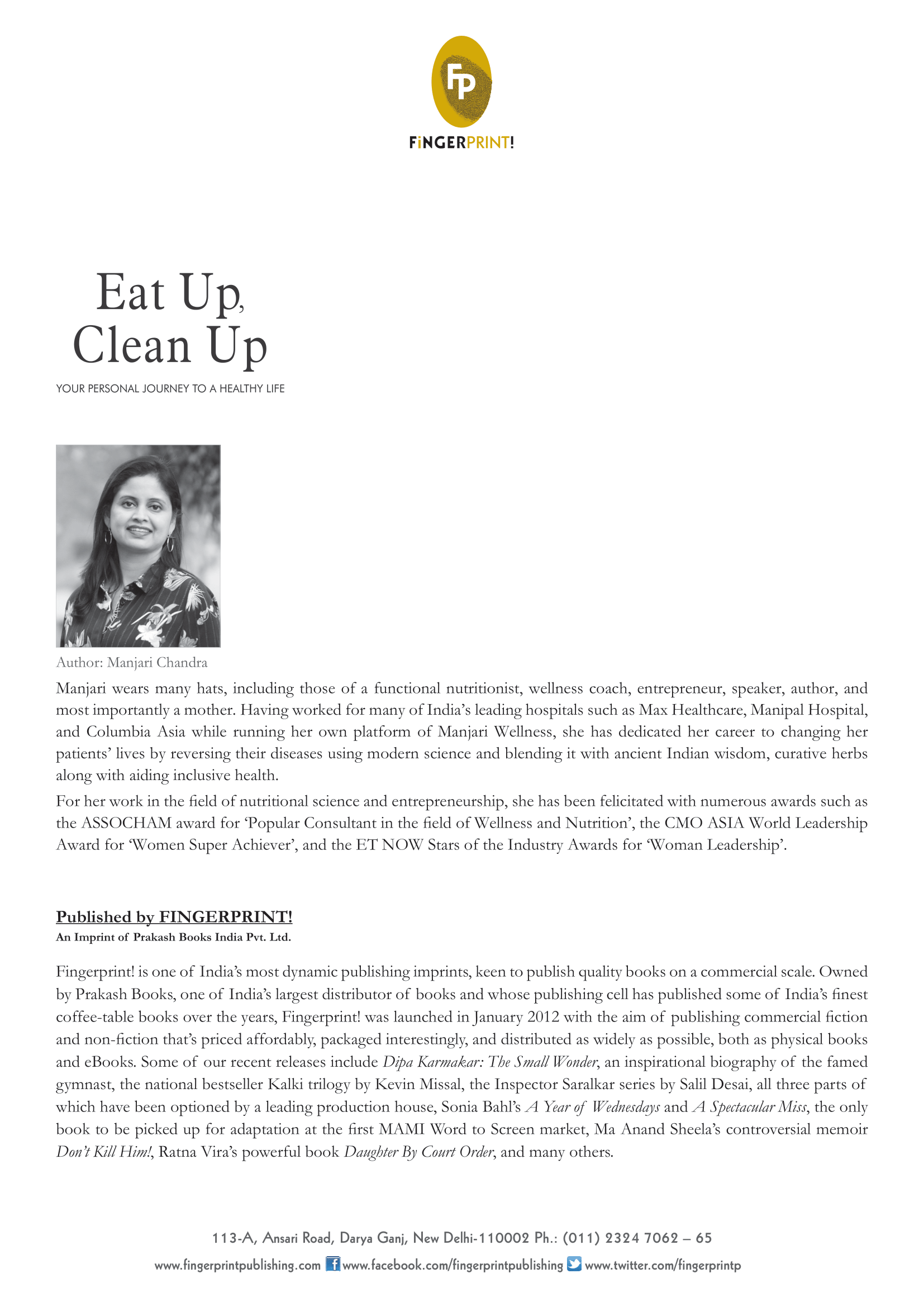 Eat Up, Clean Up by Manjari Chandra press release-2